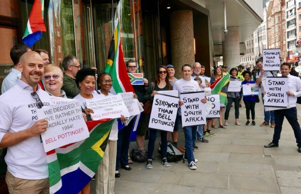 Friday 14 July 2017, DA Abroad and UK-based South Africans picket outside PR agency, Bell Pottinger, London