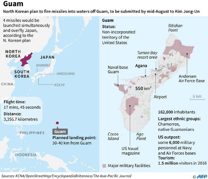 North Korea's plan to fire missiles at Guam